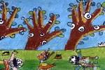 捉小鹿儿童画作品欣赏