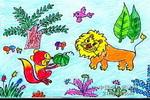 狐狸和狮子儿童画作品欣赏