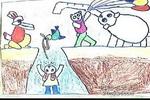 救小兔儿童画作品欣赏