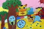 勤劳的小猫儿童画