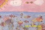 在海底游玩的鱼儿童画