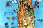 啄木鸟儿童画6幅