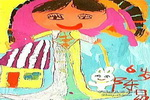 我和小白兔一起玩儿童画作品欣赏