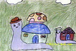 移动的房子儿童画2幅
