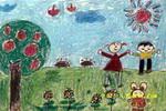 太阳下的好心情儿童画