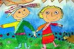 雪山友谊儿童画作品欣赏