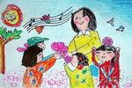 鲜花献老师儿童画作品欣赏