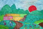 绿色的田野儿童画作品欣赏