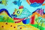 儿童画/可爱的小鸡儿童画2幅