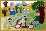 儿童画/学骑自行车儿童画