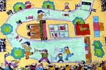 四驱车比赛油画棒儿童画