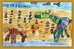 草原上的马儿儿童画