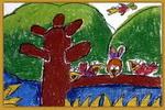 小鸟一家儿童画3幅
