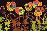 黑夜里的花儿童画作品欣赏