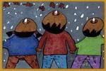 我们一起唱雨水儿童画