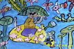 笛声悠悠儿童水粉画