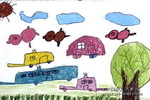 漂亮的汽车儿童水粉画