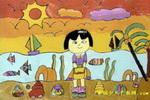 海边的小女孩儿童画