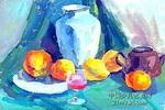 罐子和苹果儿童画3幅