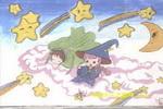 星星月亮梦儿童画