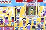 热闹的庙会儿童画作品欣赏