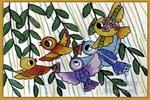 小鸟赶集儿童画