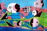 我和鲨鱼赛游泳儿童画作品欣赏