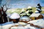 雪景儿童画4幅