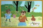 小熊去郊游儿童画