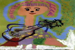 弹吉它的姑娘儿童画图片
