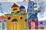 漂亮的房子儿童水粉画