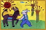 我有一头可爱的小毛驴儿童画