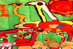 驼鸟的一家儿童画作品欣赏