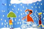 下雨天儿童画3幅