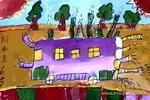 环保型都市公交儿童画图片