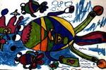 我和大鱼比游泳儿童画作品欣赏