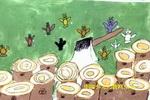 小鸟的呼救儿童画