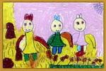 快乐的小兔儿童水粉画