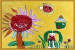我和向日葵一起成长儿童画