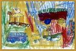 骑滑板车儿童画