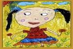 快乐的小女孩儿童水粉画