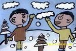 打雪仗儿童画2幅