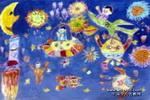遨游太空儿童画3幅