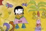 照片中的小女孩儿童画作品欣赏