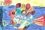 一条美丽的大鱼儿童水粉画