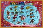 鱼缸里的会议儿童画