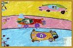 飞车比赛儿童画