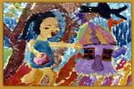 树林里的彩色屋儿童画