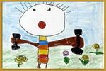 学做哑铃操儿童画