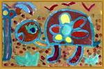 快乐的小乌龟儿童水粉画